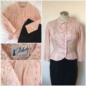 True Vintage soft pink lace peplum jacket top